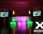 LED DJ facade, staging, and TVs