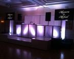Wedding setup showing names on screens