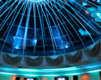 Teal booth and lighting at the Dome Room at the Grand Marquis