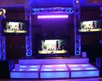 Huge goal post truss setup with tiered staging and multiple flat screens
