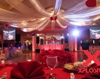 Valentines day themed sweet 16 at the Battle Ground Country Club using the venue's drop down projection screens, LED DJ booth and lit trussing with moving heads