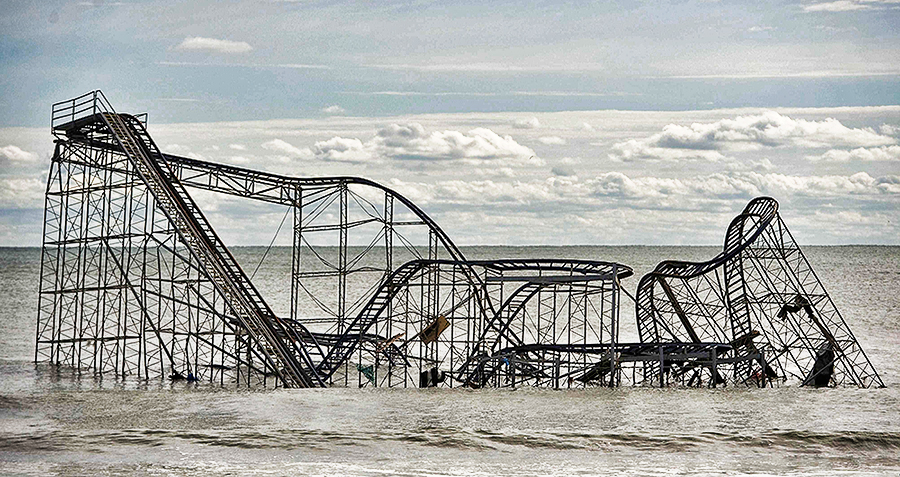 The remnants of a roller coast sits in the surf three days after Hurricane Sandy came ashore in Seaside Heights