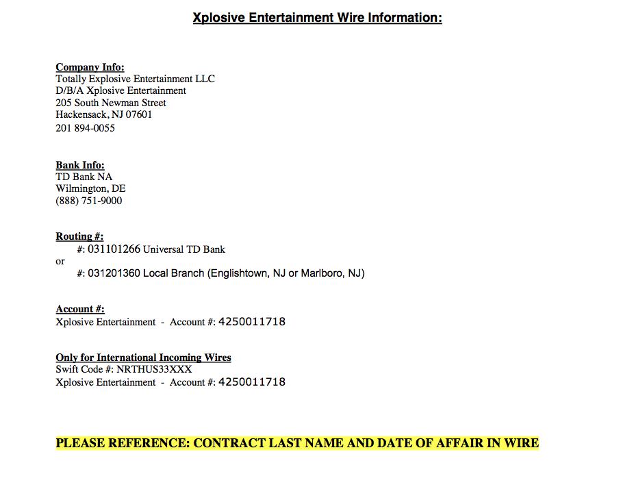 Money Wire Instructions - XPLOSIVE ENTERTAINMENT   A NJ